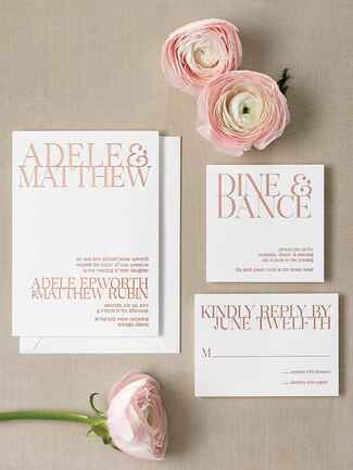 Foiled elegant contemporary wedding invitation