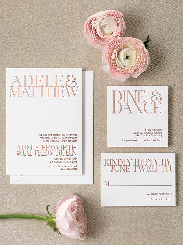 20 prettiest wedding invitations foiled elegant contemporary wedding invitation stopboris Choice Image