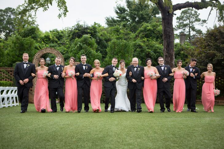 Pink and Black Wedding Party Attire