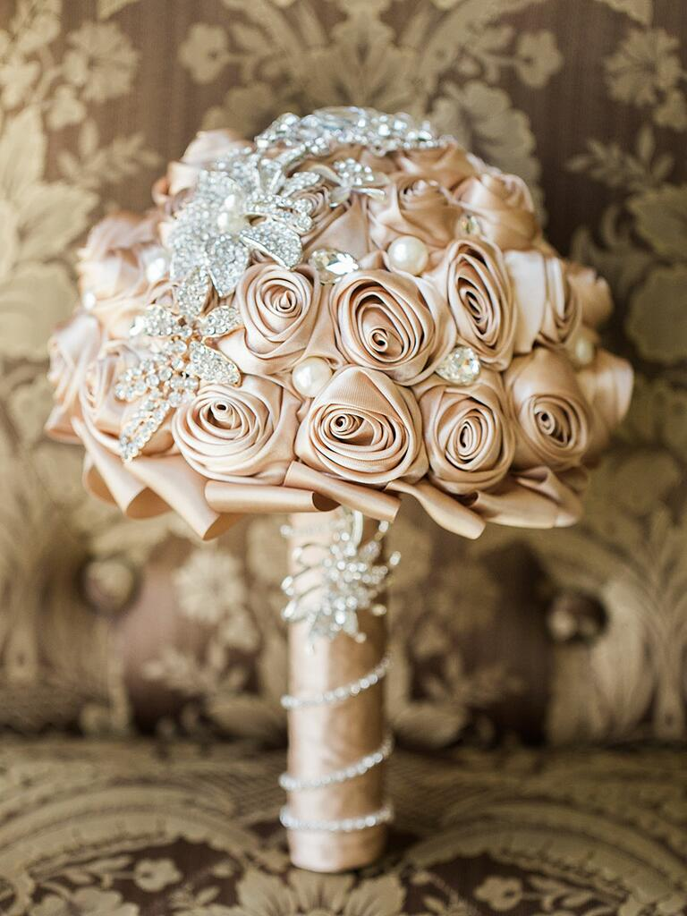 Unique handmade wedding bouquet made from ribbons and brooches