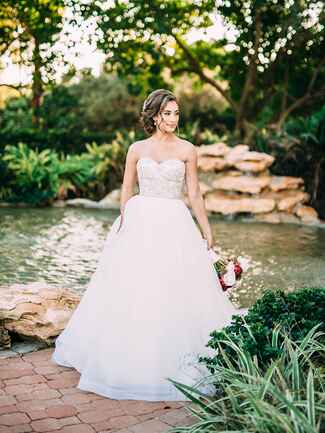 bride in strapless sweetheart dress