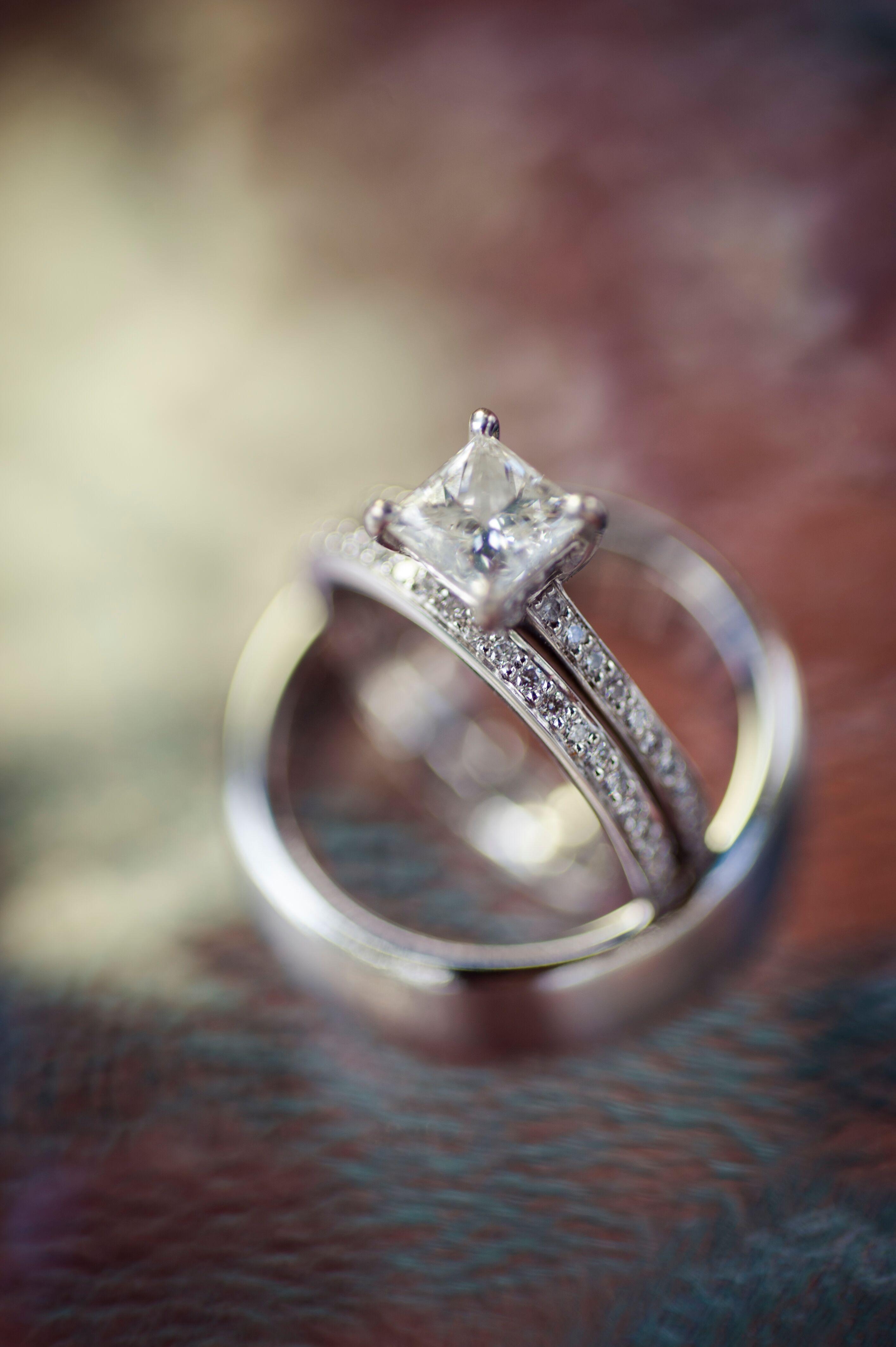 Square cut wedding rings
