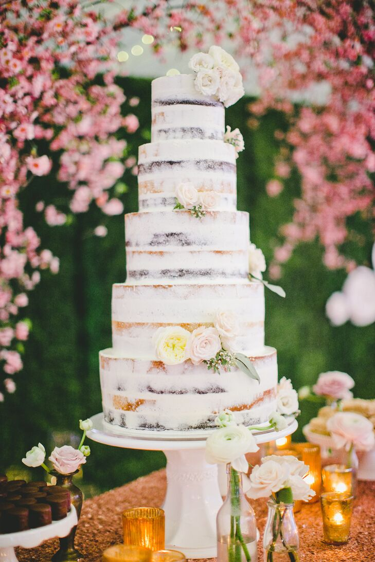 Naked Tiered Cake With Flowers