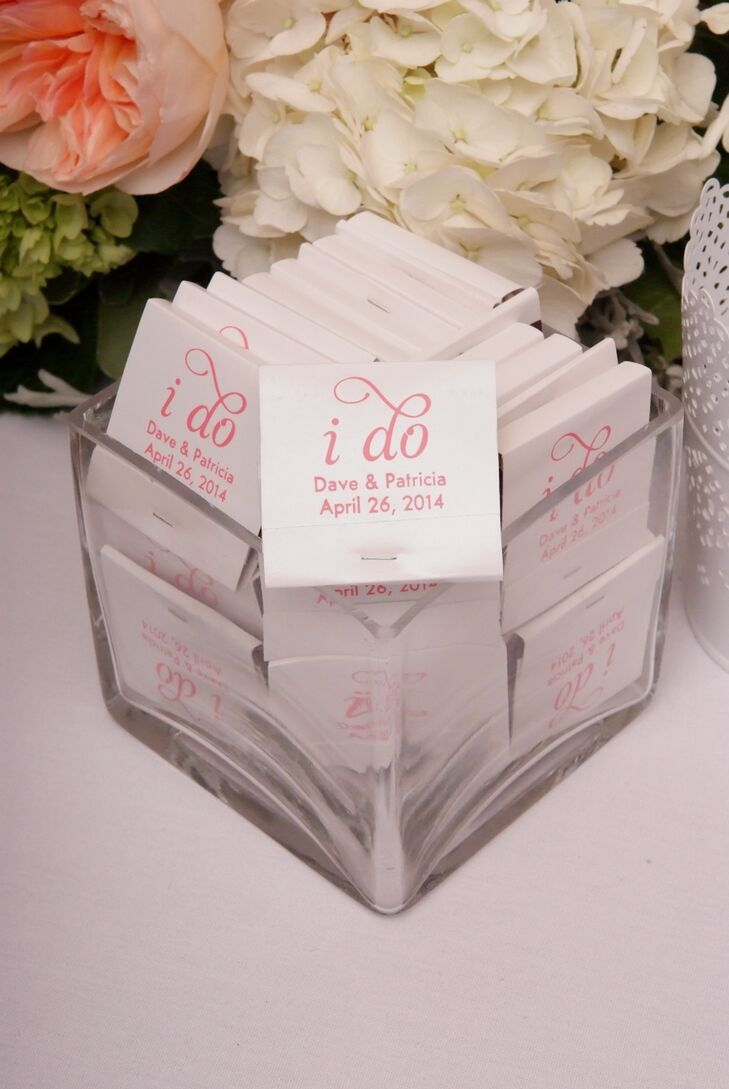Pink And White Embossed Matchbook Wedding Favors