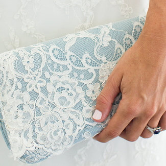 Blue bridal clutch