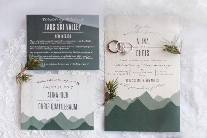 Modern Mountain-Themed Wedding Invitations