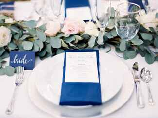 Wedding rehearsal dinner place setting