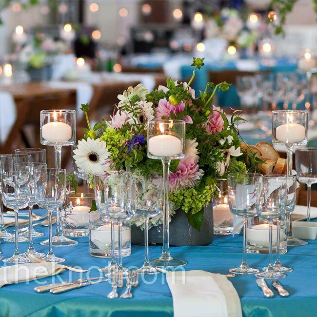 Glass pedestal candle centerpieces