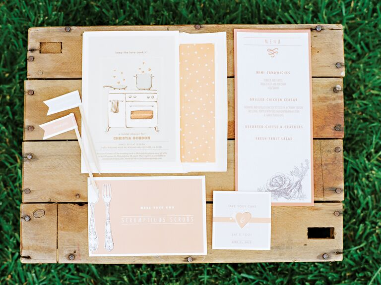 Whimsical bridal shower invitation suite