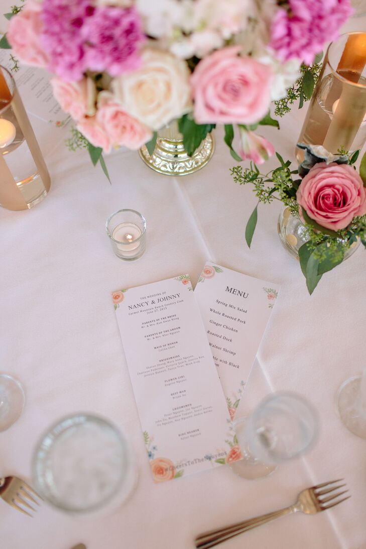 Blush Pink And Gold Wedding Reception Decor