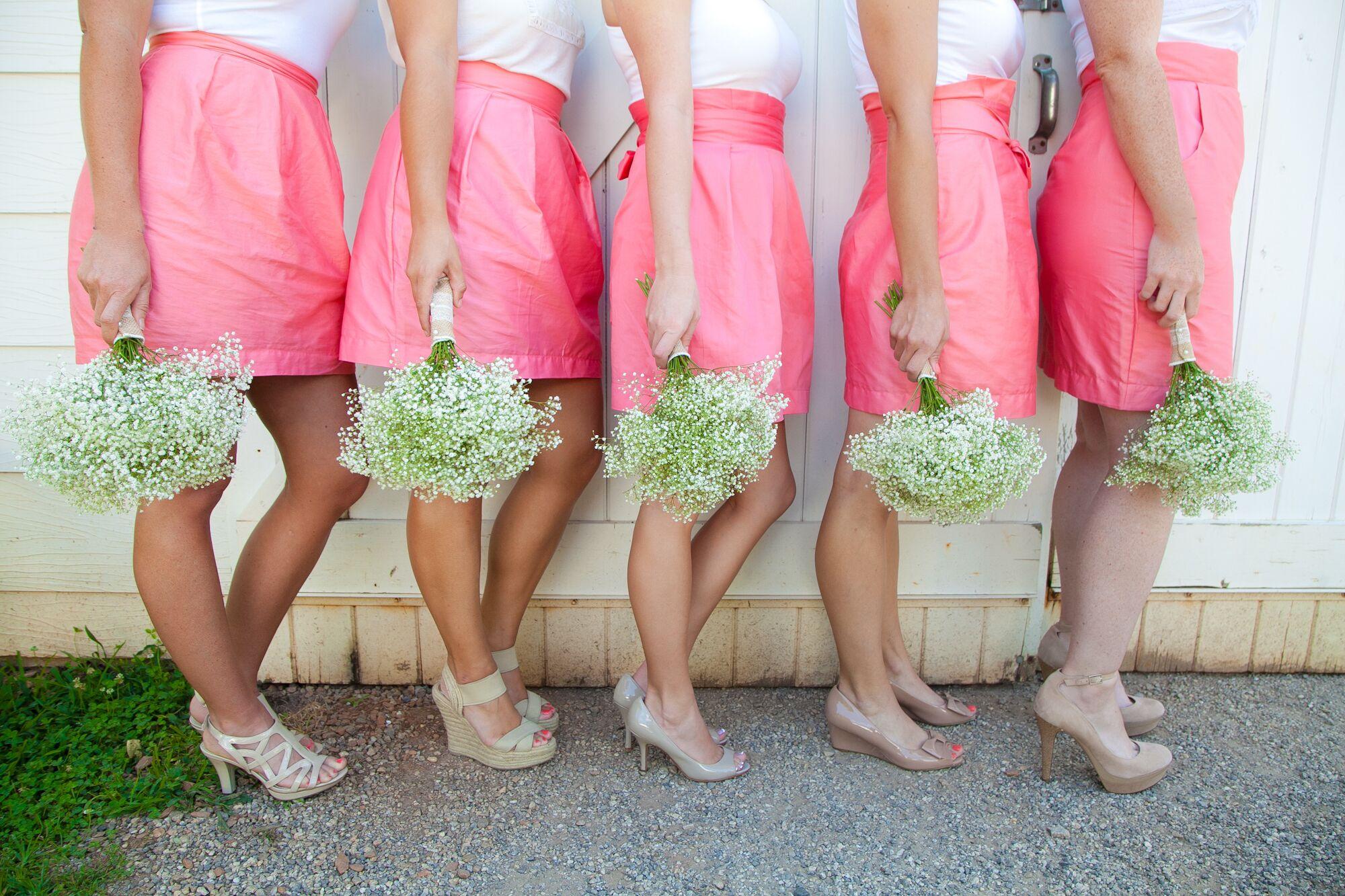 Preppy Pink and Khaki Wedding Party Attire