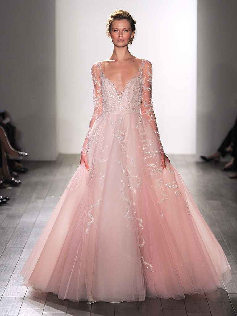 Sequin applique blush pink wedding gown by ​Hayley Paige​​