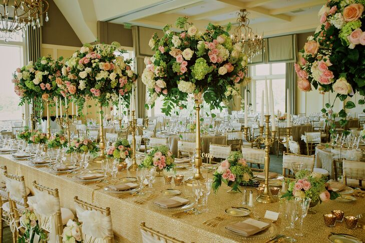 Elegant tall rose and hydrangea centerpieces