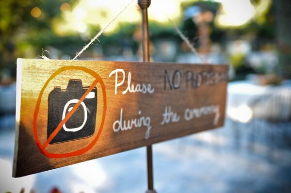 'No Photography' Ceremony Sign