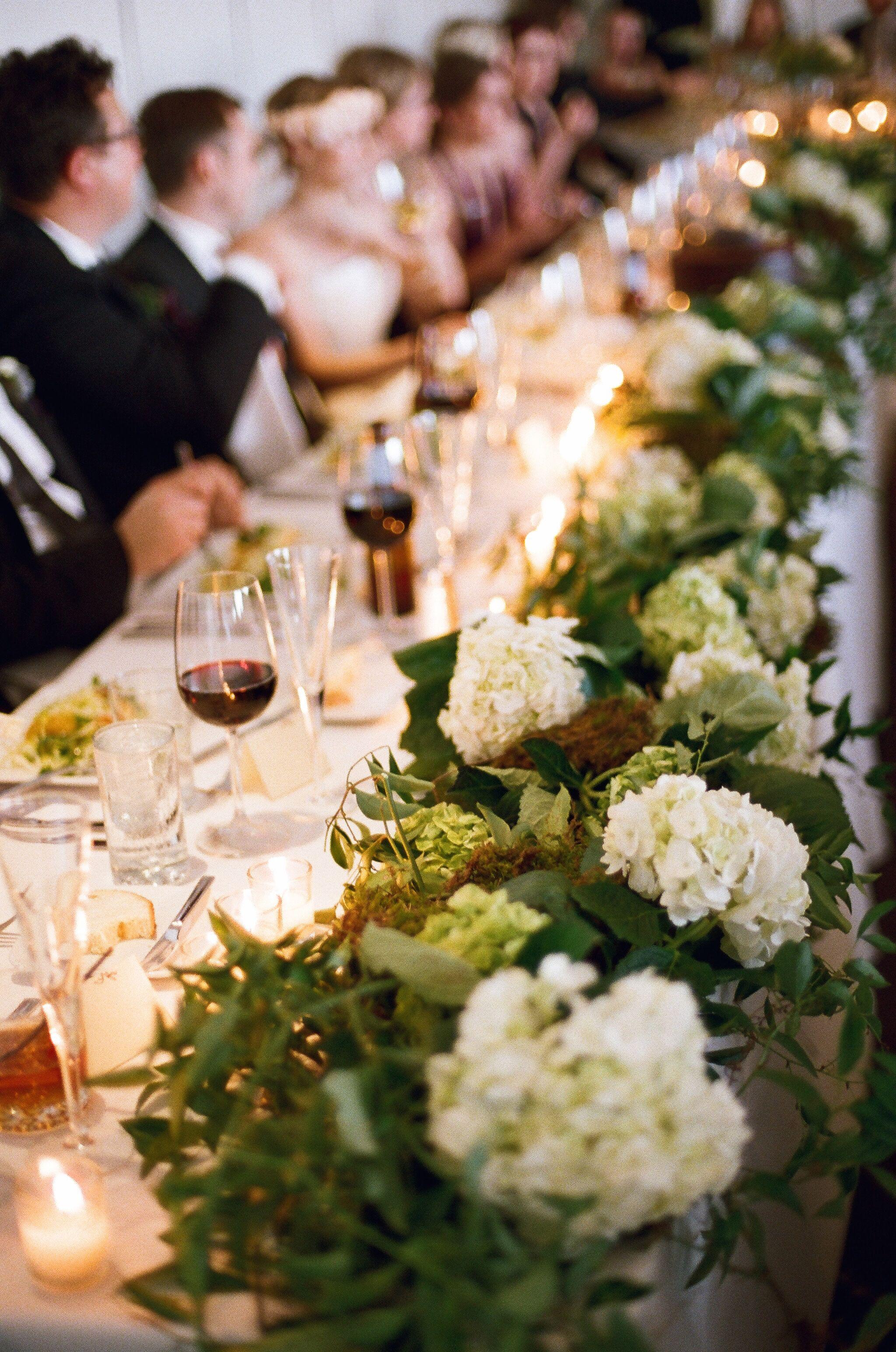 Rustic Hydrangea And Moss Wedding Table Garland