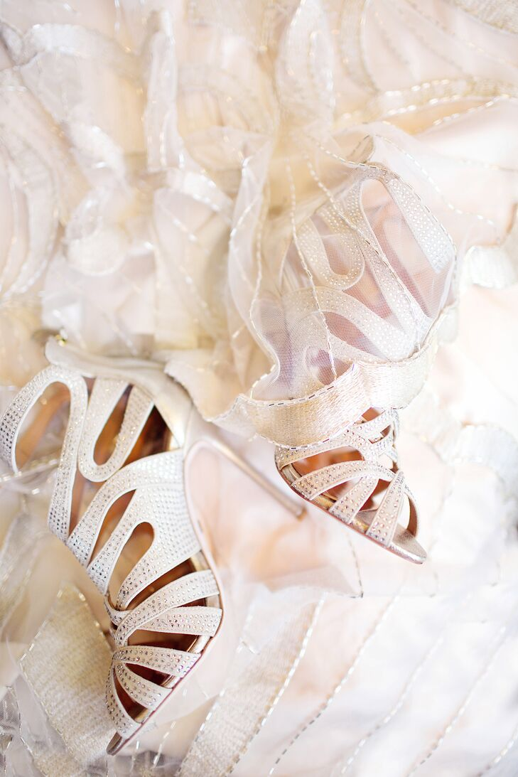 Badgley Mischka White Rhinestone Shoes