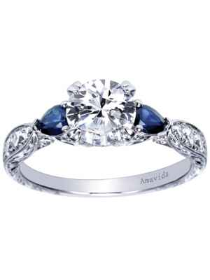 Gabriel & Co sapphire side stone engagement ring