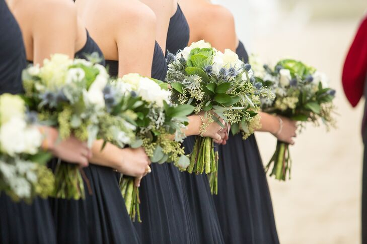 Eucalyptus, Thistle and Ivory Rose Bridesmaid Bouquets