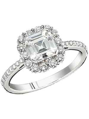 Peter Storm Asscher cut engagement ring