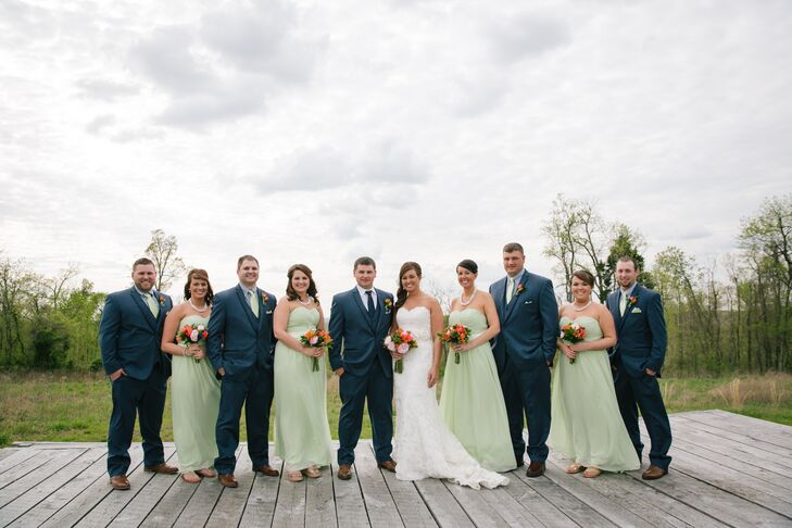 Light Green and Navy Wedding Party