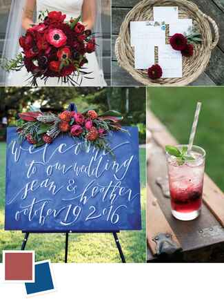 Marsala and midnight wedding colors