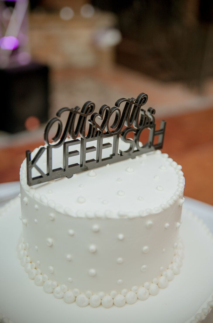 Metal Topper on Round Wedding Cake