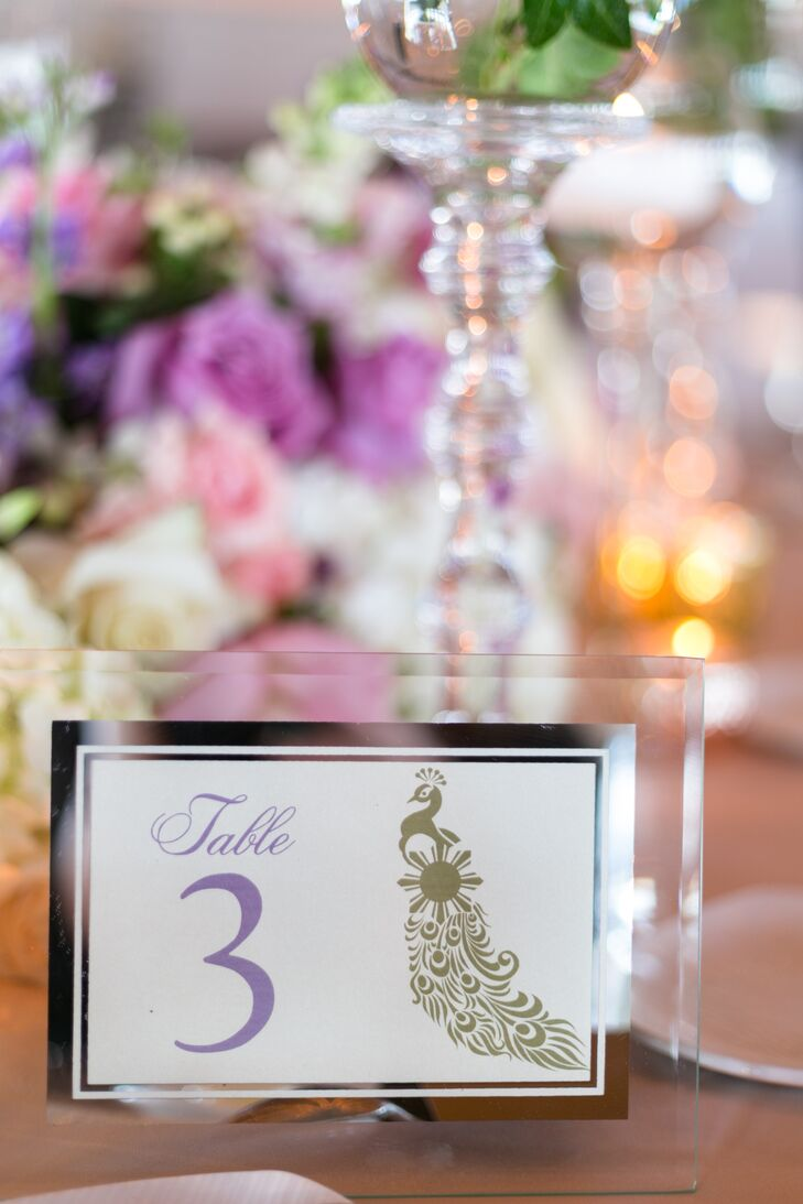 Modern Peacock Accented Table Numbers