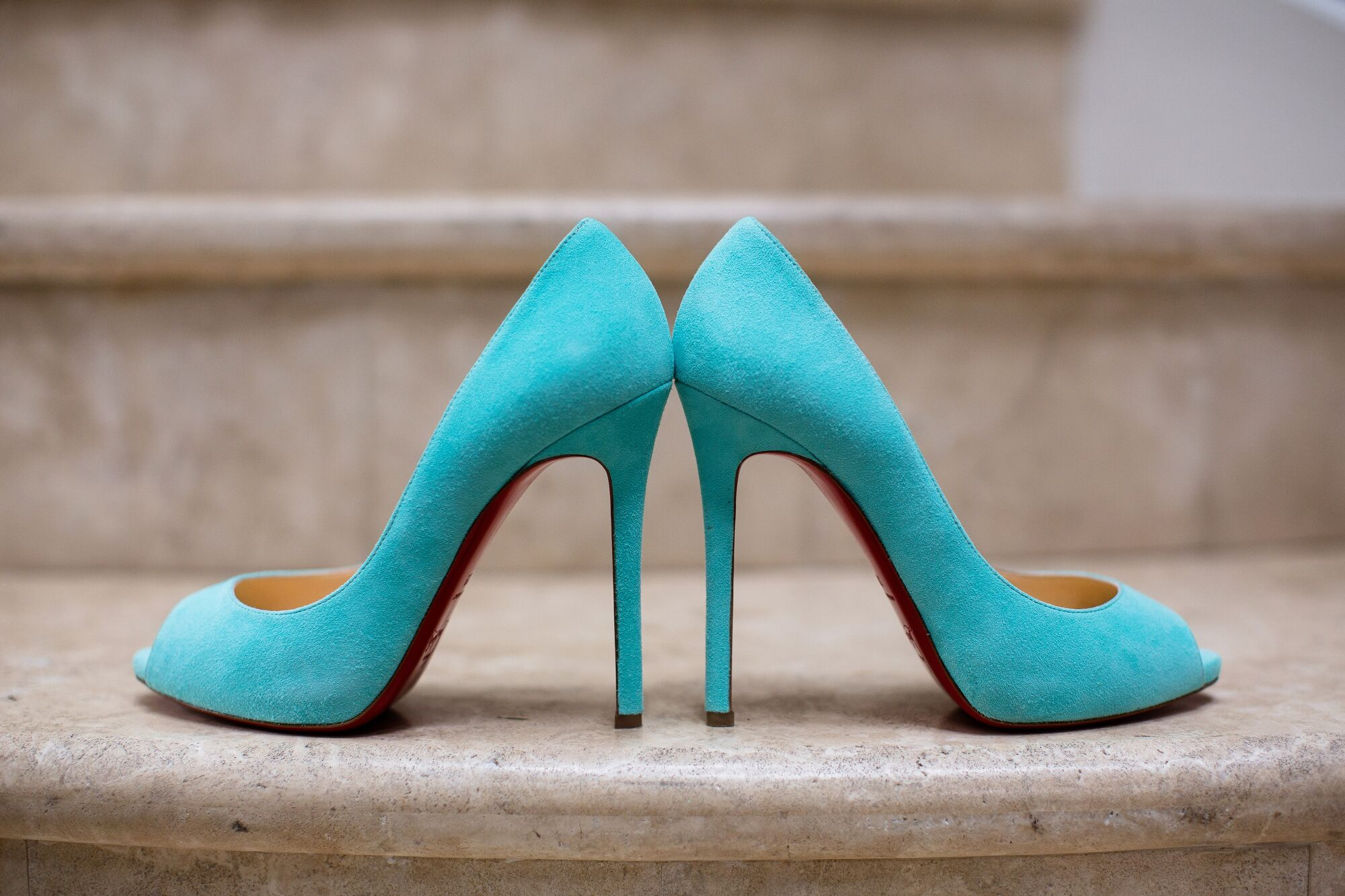 turquoise blue christian louboutin bridal shoes