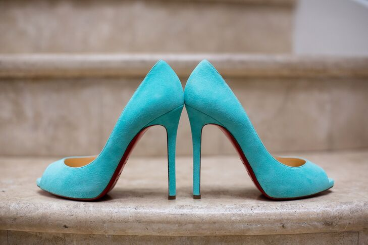 turquoise blue christian louboutin bridal shoes