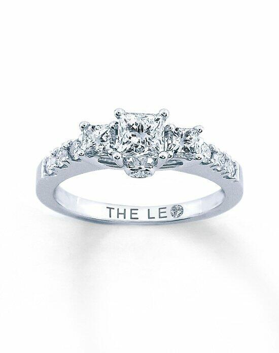 Leo Schachter Diamond 3 Stone Ring 7/8ctw Princess 14k White Gold Engagement Ring photo