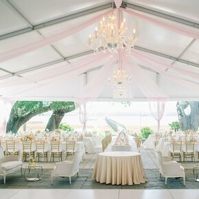 Romantic White and Pink Chandelier Tent Reception & Wedding Tents