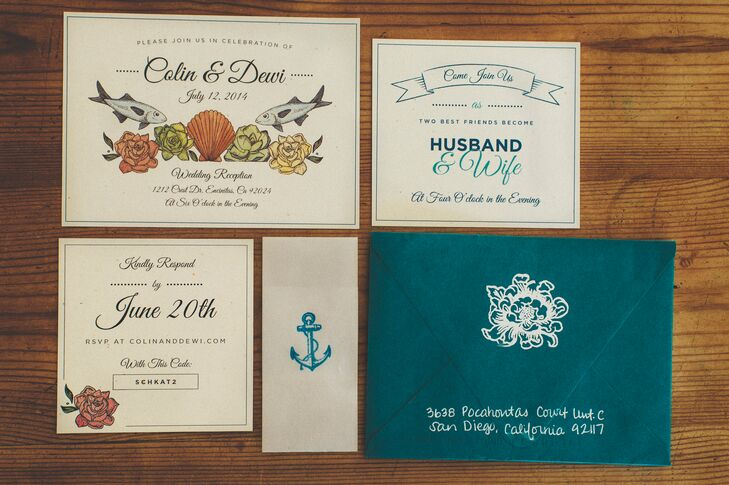 The vintage, beach-inspired wedding invitations were ivory and teal blue accented with nautical designs.