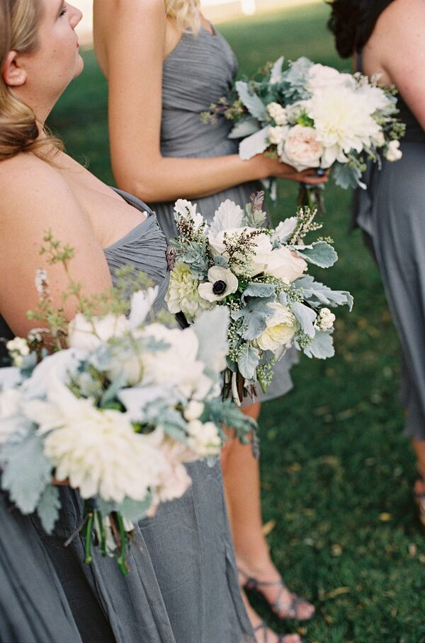 Gray and White Bridesmaid Bouquets