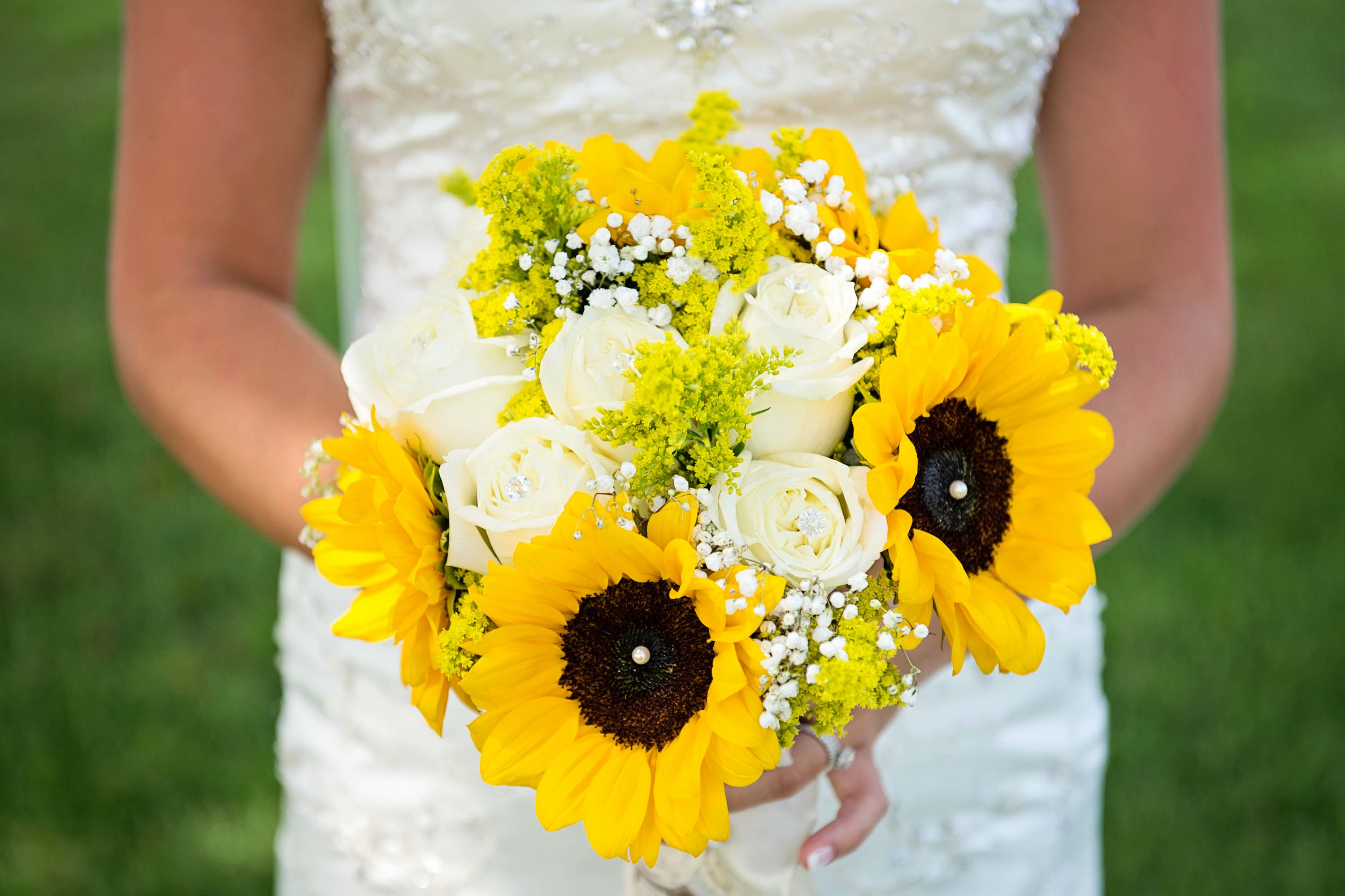 Sunflower Rose and Baby s Breath Bouquet