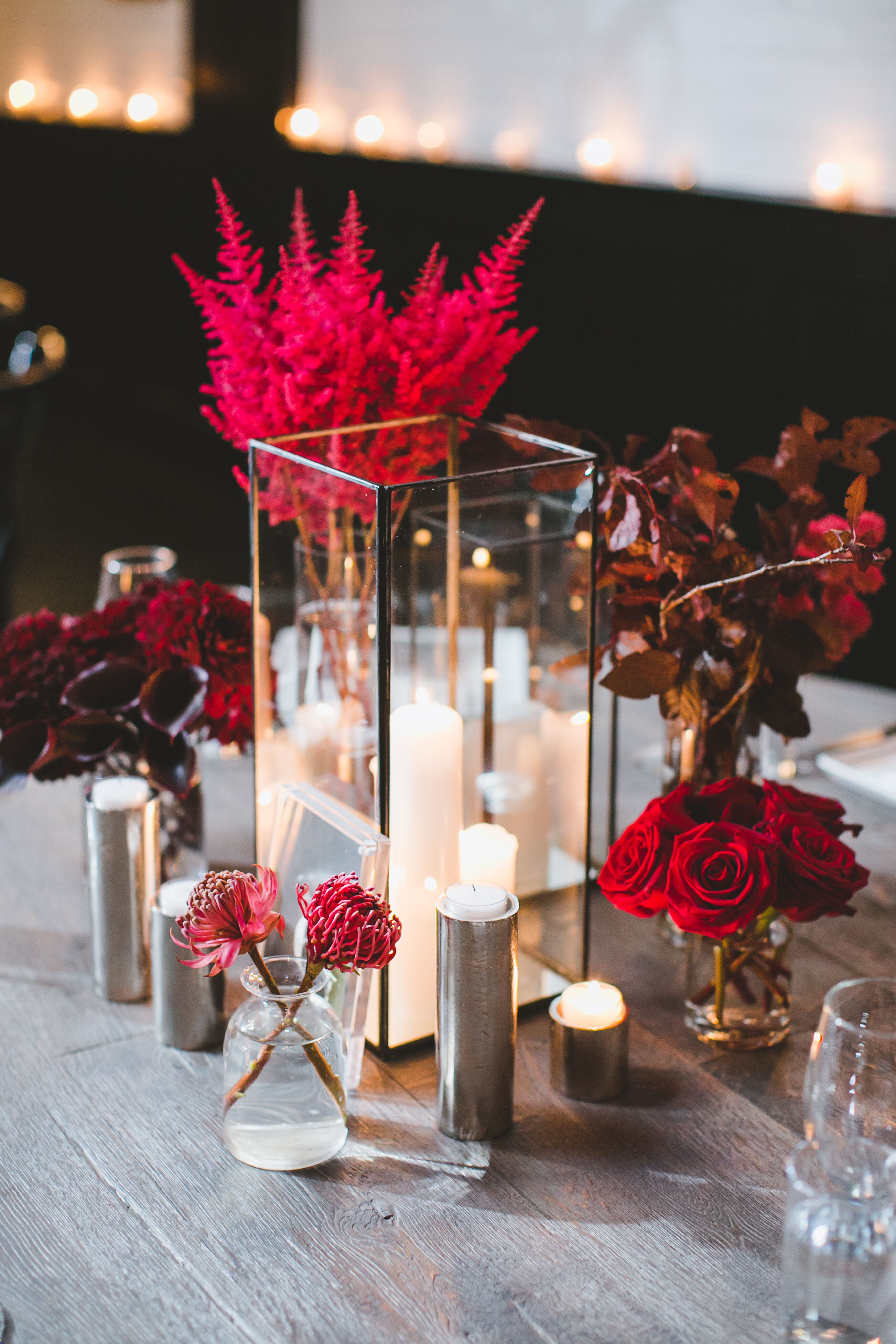 Wedding centerpieces modern candle and red floral bud vase centerpieces junglespirit Choice Image