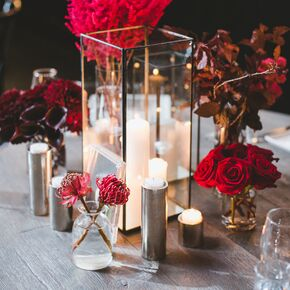 Modern Candle And Red Floral Bud Vase Centerpieces