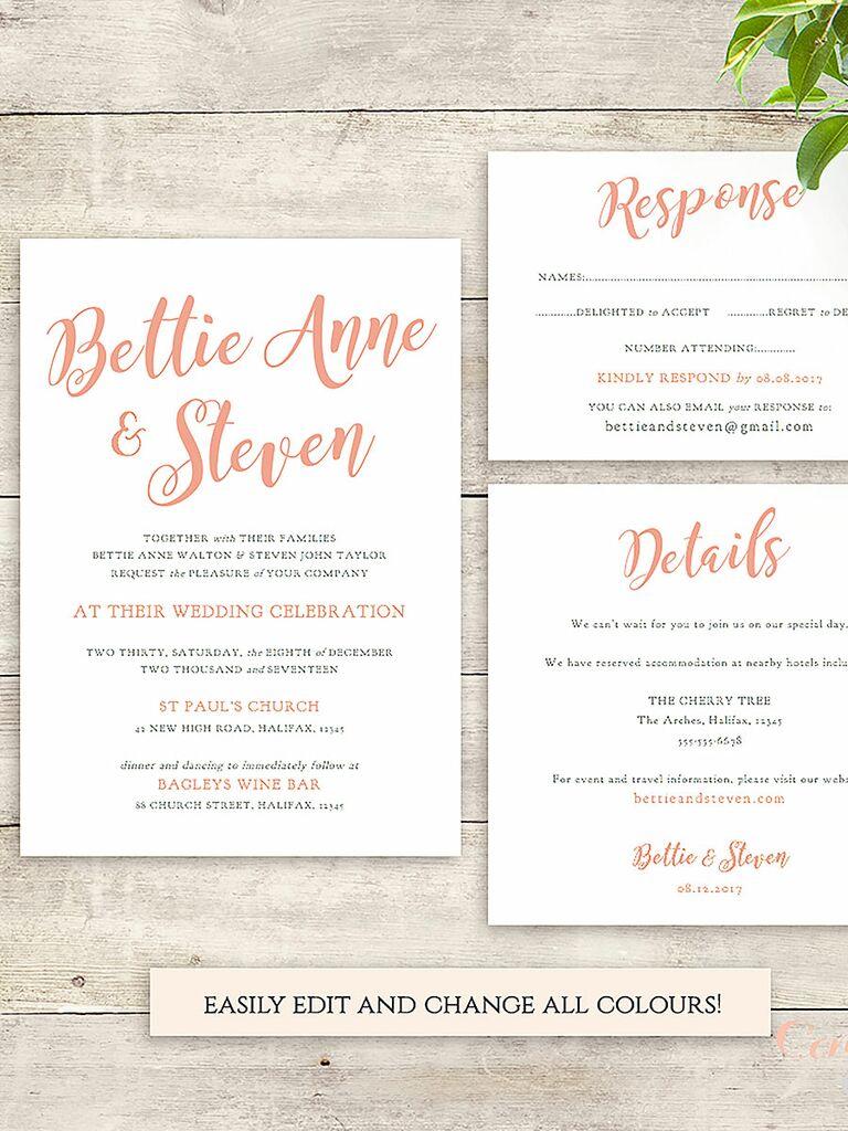 Famoso 16 Printable Wedding Invitation Templates You Can DIY MW37