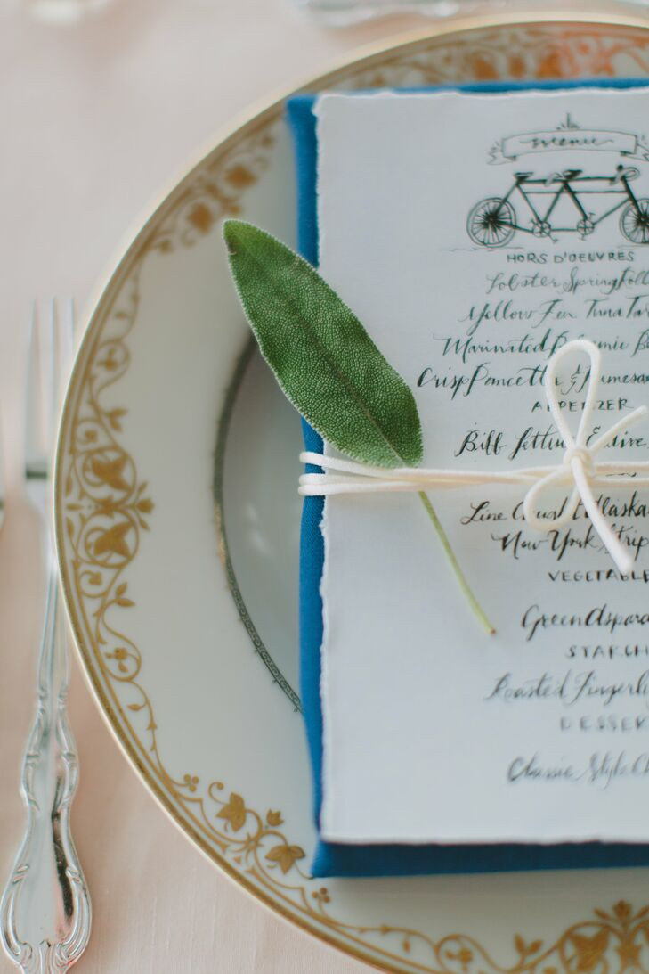Whimsical Wedding Menu With Eucalyptus Leaf