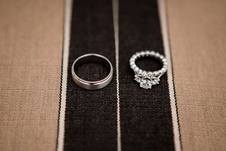 Displayed Engagement and Wedding Rings