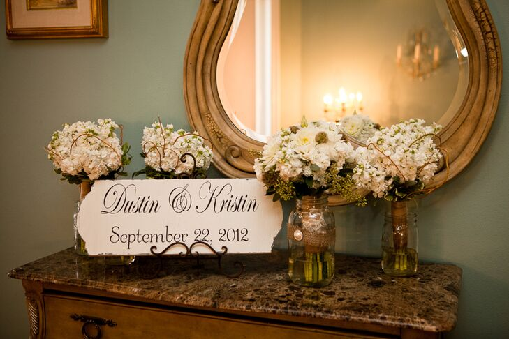 Floral Arrangements and Wedding Sign