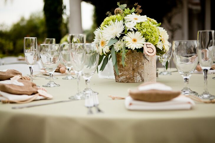 White and green table centerpiece