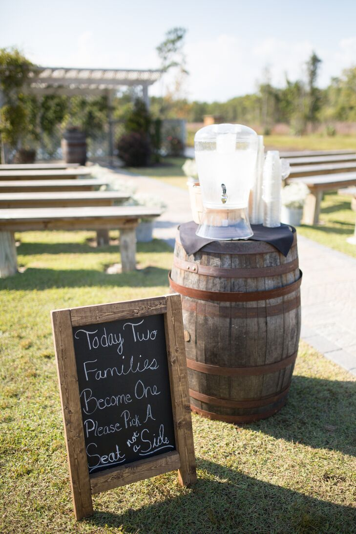 Wine Barrel Outdoor Wedding Ceremony Decor