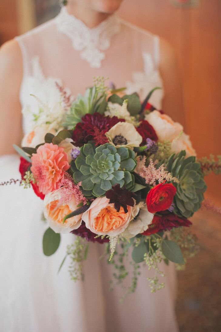 Dahlia And Succulent Bridal Bouquet