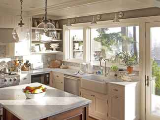 An all-white country chic kitchen