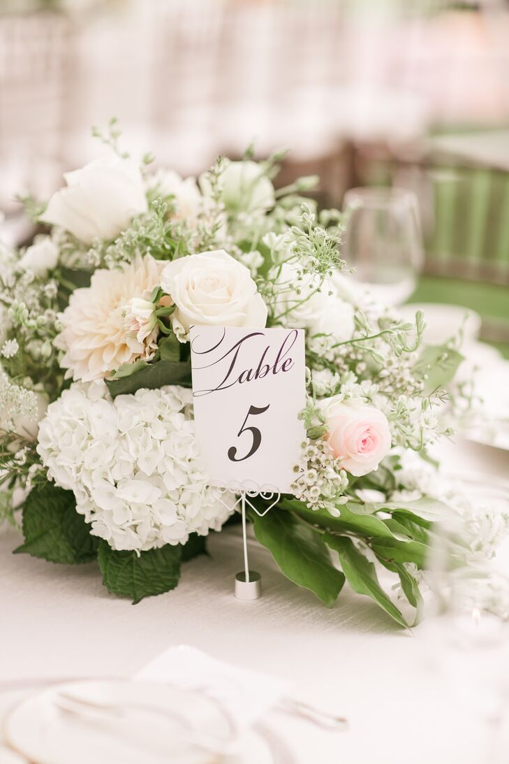 Table number with white flower centerpiece mightylinksfo