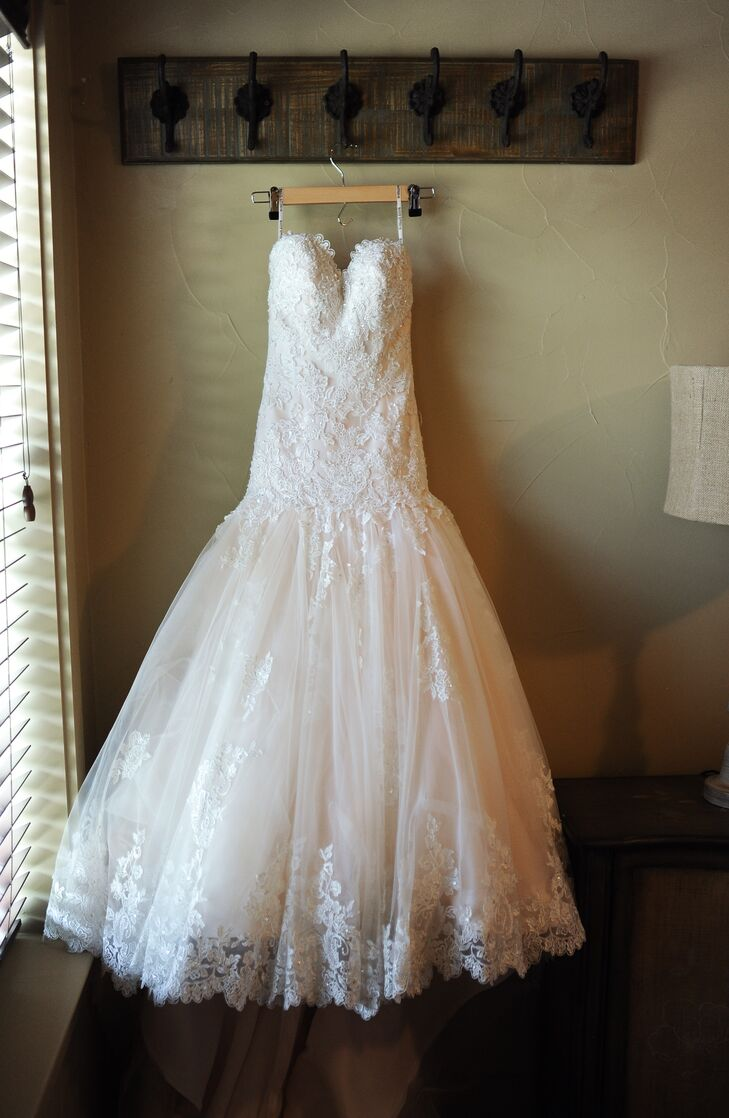 Strapless, Lace, Drop Waist Wedding Dress with Tulle Skirt in ...