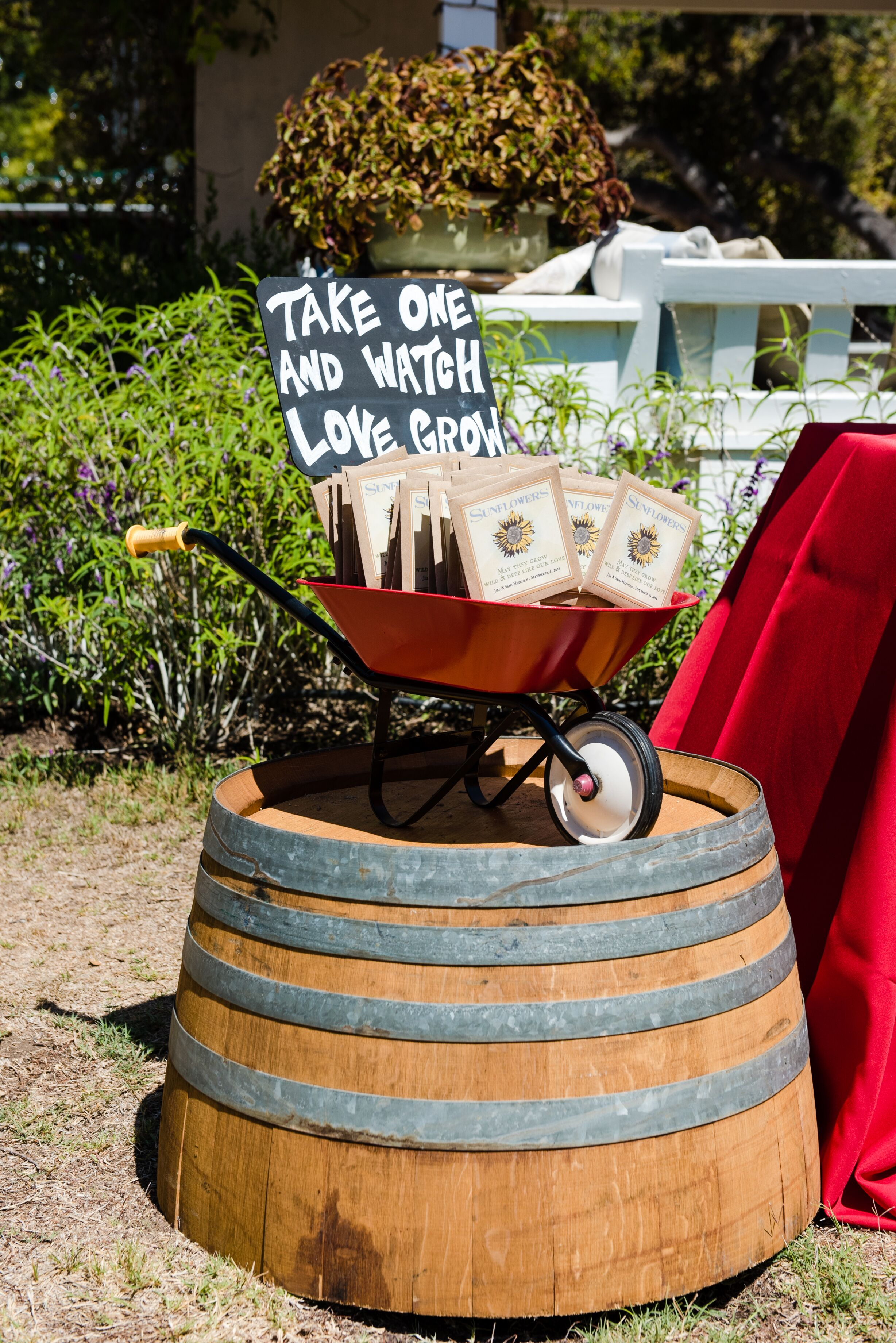 Sunflower Seed Wedding Favors In Wheelbarrow