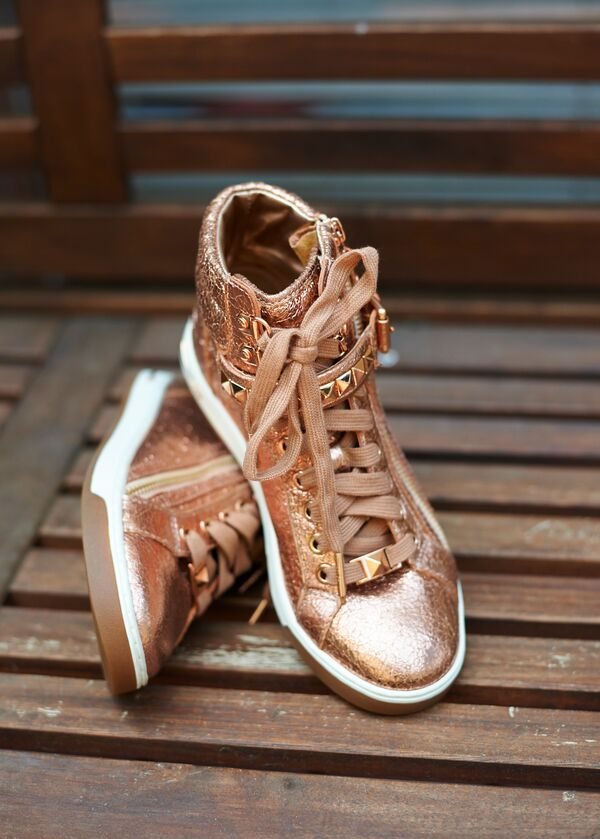 Rose Gold High-Top Sneakers