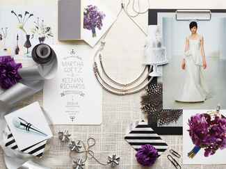 Purple and black modern wedding planning inspiration board