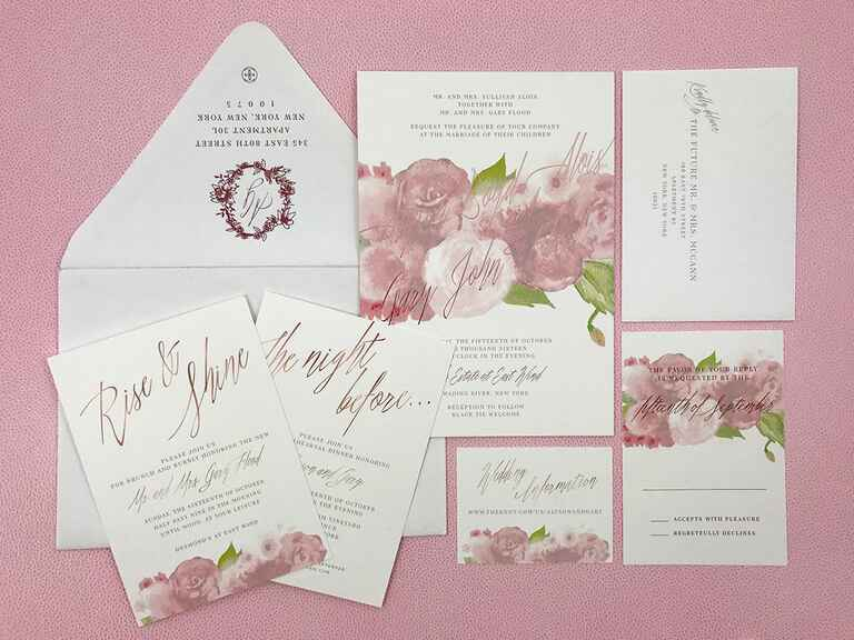 pink watercolor invitations
